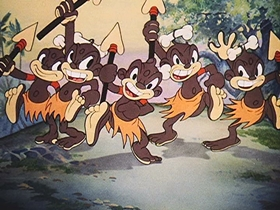 Screenshots from the 1940 Walter Lantz cartoon 100 Pygmies and Andy Panda