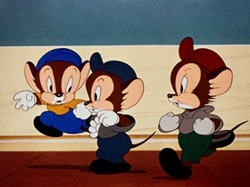 Screenshots from the 1941 Warner Brothers cartoon Sniffles Bells the Cat