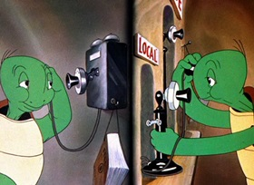 Screenshots from the 1941 Warner Brothers cartoon Tortoise Beats Hare