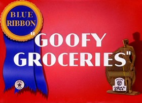 Screenshots from the 1941 Warner Brothers cartoon Goofy Groceries