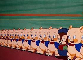 Screenshots from the 1941 Warner Bros. cartoon Toy Trouble
