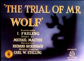 Screenshots from the 1941 Warner Brothers cartoon The Trial of Mister Wolf