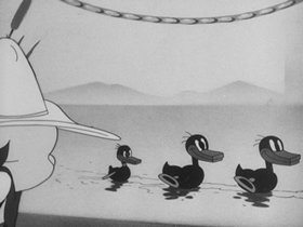 Screenshots from the 1941 Warner Brothers cartoon A Coy Decoy