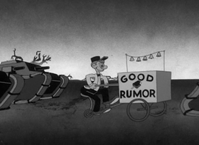 Screenshots from the 1941 Warner Bros. cartoon Meet John Doughboy
