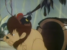 Screenshots from the 1941 Warner Brothers cartoon Inki and the Lion