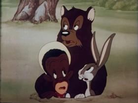 Screenshots from the 1941 Warner Brothers cartoon All This and Rabbit Stew