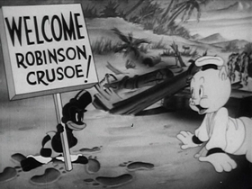 Screenshots from the 1941 Warner Brothers cartoon Robinson Crusoe, Jr.