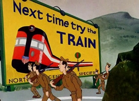 Screenshots from the 1941 Warner Brothers cartoon Rookie Review
