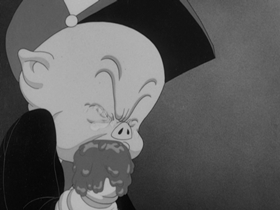 Screenshots from the 1941 Warner Brothers cartoon Porky