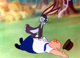 Screenshots from the 1941 Warner Brothers cartoon Wabbit Twouble