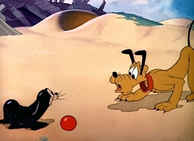 Screenshots from the 1941 Disney cartoon Pluto