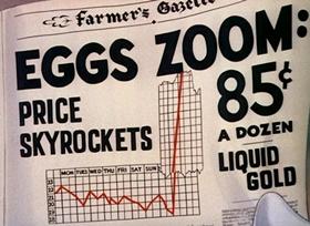 Screenshots from the 1941 Disney cartoon The Golden Eggs