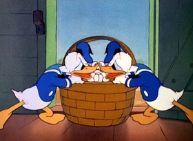 Screenshots from the 1941 Disney cartoon The Golden Eggs