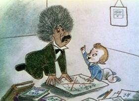 Screenshots from the 1941 Disney cartoon Baby Weems