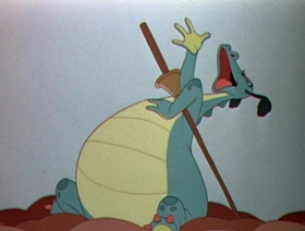 Screenshots from the 1941 Disney cartoon The Reluctant Dragon