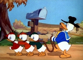 Screenshots from the 1941 Disney cartoon Truant Officer Donald