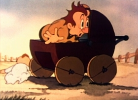 Screenshots from the 1941 Fleischer Studio cartoon All