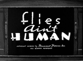 Screenshots from the 1941 Fleischer Studio cartoon Flies Ain