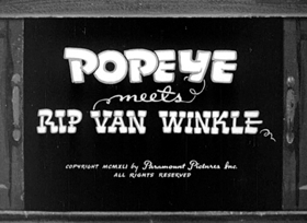 Screenshots from the 1941 Fleischer Studio cartoon Popeye Meets Rip Van Winkle