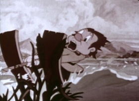 Screenshots from the 1941 Fleischer Studio cartoon Gabby Goes Fishing