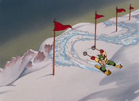 Screenshots from the 1941 Disney cartoon The Art of Skiing