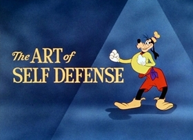 Screenshots from the 1941 Disney cartoon The Art of Self Defense