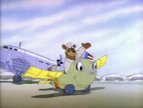 Screenshots from the 1941 MGM cartoon The Flying Bear