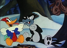 Screenshots from the 1941 Walter Lantz cartoon Pantry Panic