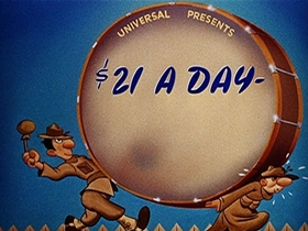 Screenshots from the 1941 Walter Lantz cartoon $21.00 A Day Once a Month