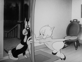 Screenshots from the 1941 Warner Brothers cartoon Notes to You