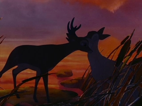 Screenshots from the 1942 Disney cartoon Bambi
