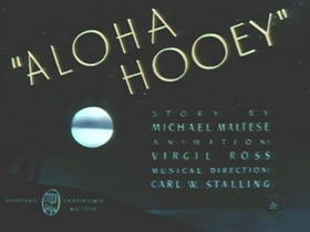 Screenshots from the 1942 Warner Brothers cartoon Aloha Hooey