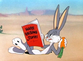 Screenshots from the 1942 Warner Brothers cartoon Bugs Bunny Gets the Boid