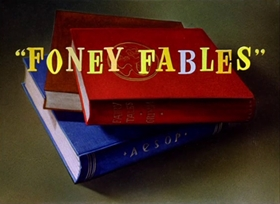 Screenshots from the 1942 Warner Brothers cartoon Foney Fables