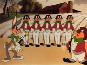Screenshots from the 1942 Warner Brothers cartoon Fresh Hare