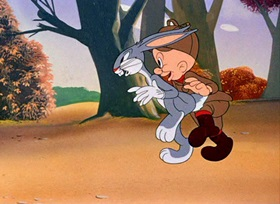 Screenshots from the 1942 Warner Brothers cartoon The Hare-Brained Hypnotist