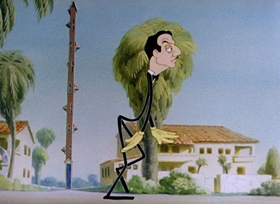 Screenshots from the 1942 Columbia cartoon A Hollywood Detour