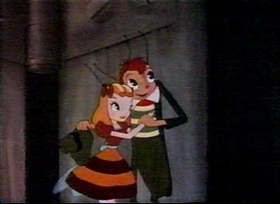 Screenshots from the 1942 Fleischer Studio cartoon Mr. Bug Goes to Town