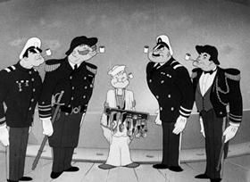 Screenshots from the 1942 Fleischer Studio cartoon Blunder Below