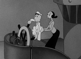Screenshots from the 1942 Fleischer Studio cartoon Baby Wants a Bottleship
