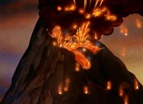 Screenshots from the 1942 Fleischer Studio cartoon Volcano
