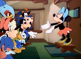 Screenshots from the 1942 Disney cartoon Mickey