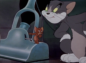 Screenshots from the 1942 MGM cartoon Fraidy Cat