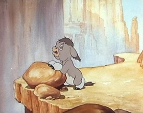 Screenshots from the 1942 MGM cartoon Little Gravel Voice