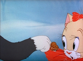 Screenshots from the 1942 MGM cartoon Puss N