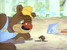 Screenshots from the 1942 MGM cartoon Barney Bear