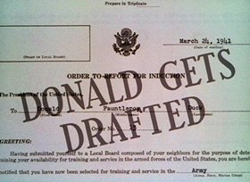 Screenshots from the 1942 Disney cartoon Donald Gets Drafted