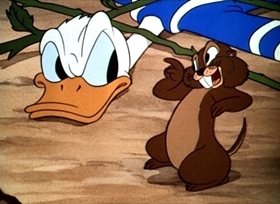 Screenshots from the 1942 Disney cartoon Donald