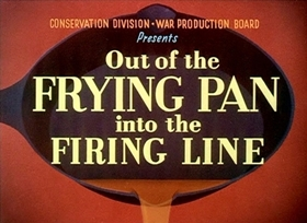 Screenshots from the 1942 Disney cartoon Out of the Frying Pan Into the Firing Line