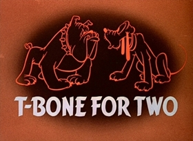 Screenshots from the 1942 Disney cartoon T-Bone for Two